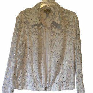 Joseph Ribkoff Womens Jacket White Zip Up Lace Seq